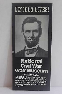 VINTAGE NATIONAL CIVIL WAR WAX MUSEUM GETTYSBURG, PA TRAVEL BROCHURE BR667