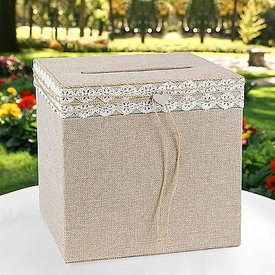 Natural Rustic Country Burlap Lace Wedding Gift Card Box with Heart Charm