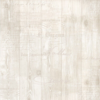 Calligraphy Beige Cream Wood Wooden Planked Wall Muriva Feature Wallpaper 131505