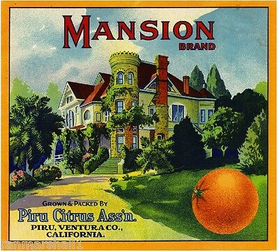 Piru Ventura County Mansion #4 Orange Citrus Fruit Crate Label Art Print