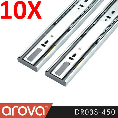 10 X Full Extension Soft Close Ball Bearing Drawer Runners Slides 450mm DR03S