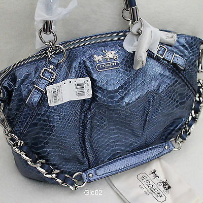COACH Madison python snake embossed leather Marielle blue shoulder bag ...