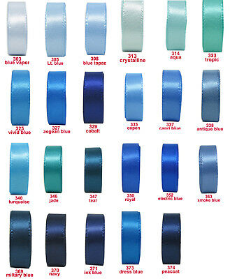 """25y 50y 16mm 5/8"""" Blue Shades Premium Double Faced Sided Satin Ribbon Eco"""