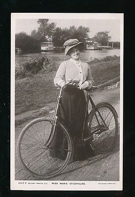 Stage theatre actress Miss Marie Studholme with Bicycle Fashion RP PPC by Rotary