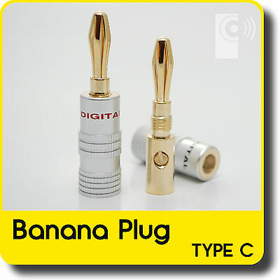Hi-Fi Banana Plugs (2x) - 4mm Gold Plated Speaker /Amp wire connectors (BP2)