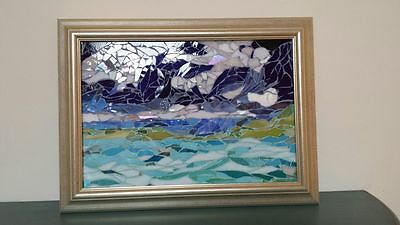 Mosaic Turquoise Water Stained Glass Framed by Agnieszka Kudlacik