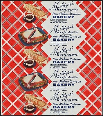 Vintage bread wrapper MILITZERS Drive In Bakery sandwiches picture new old stock