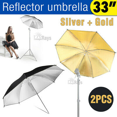 2 x 33'' Reflective Umbrella Black Gold Silver For Photo Studio Flash Lighting