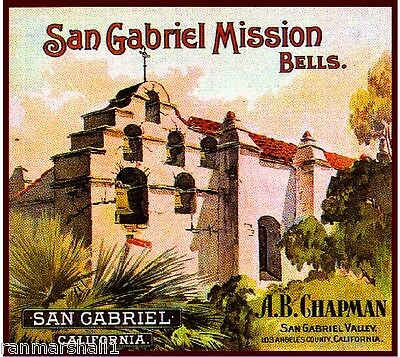 San Gabriel Los Angeles Mission Bells Orange Citrus Fruit Crate Label Art Print