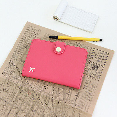 Fashion 6 Cute Colors Air Travel Passport Cover Case Card Holder Leather Wallet
