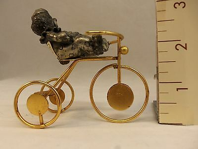 Pewter Clown on Brass Tricycle, by George-GOOD 3 inches high.