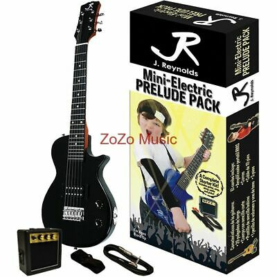 New J Reynolds Jrpklpbk Kids 1/2 Size Electric Guitar Starter Pack, Jet Black