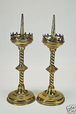 Matched Pair of Antique Brass Gothic Altar / Church Candle Sticks, Dutch.