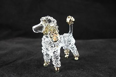 Poodle Dog Hand Blown Glass Figurine Collectible Home Decor Free Shipping