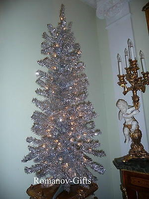 SILVER Irridescent Alaska Christmas Tree 4 Ft Pre-lit w/70 Clear lites Art Deco
