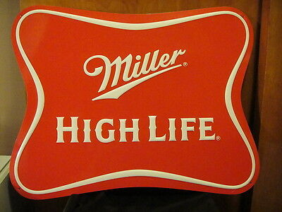 """Miller High Life Bow Tie Sign Tin Tacker Beer Milwaukee WI """"Champagne of Beers!"""""""