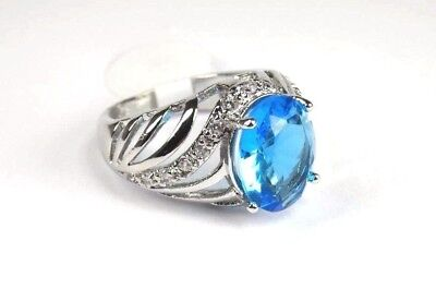 R#5067 simulated Sea Blue & White Topaz Gemstone ladies silver ring size 8