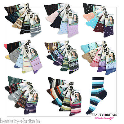 Women's Socks Wholesale Cotton Rich 92% 2 Sizes 10 Different Designs From Uk