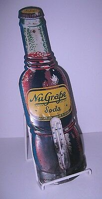 Vintage 1930's Nu-Grape Soda Tin Litho Advertising Sign Thermometer