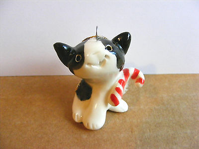 Little Guys Candy Cane Cat Christmas Ornament Mini Animal Cindy Pacileo Pottery
