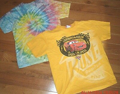 Boy's M Med Lot of 2 T-Shirts Short Sleeved Disney Cars & Tie Dye Medium