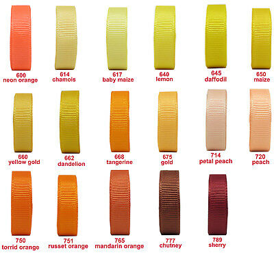 "10y 25y 50y 16mm 5/8"" Yellw Gold Peach Orange Premium Grosgrain Ribbon Eco"