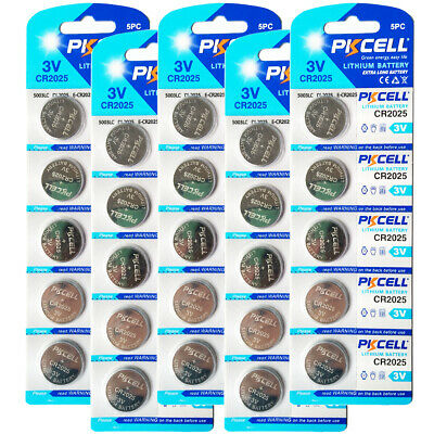 25 New CR2025 DL2025 ECR2025 3V Lithium Button Coin Cell Battery Wholesale Lot