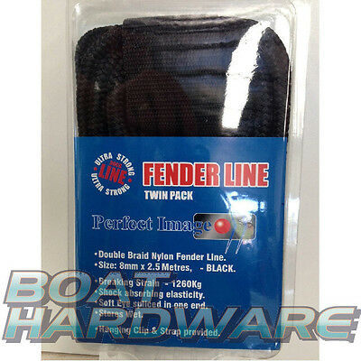 Dock line Mooring Fender rope 8mm Braid x 2.5m TWIN PACK Boat Fishing Yacht NEW