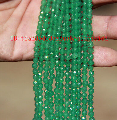 "4mm/6mm/8mm/10mm Emerald Round Faceted Loose Beads Gemstone 1 Strands/16""L"