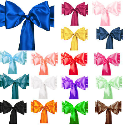 1 10 50 100 Satin Chair Cover Sash Bows Wedding Banquet Reception 20 Colors