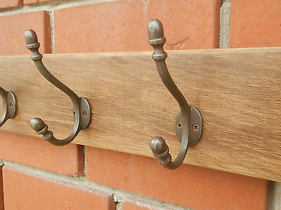 Handmade Reclaimed Solid Oak Hat and Coat Rack with 6 Acorn style hooks