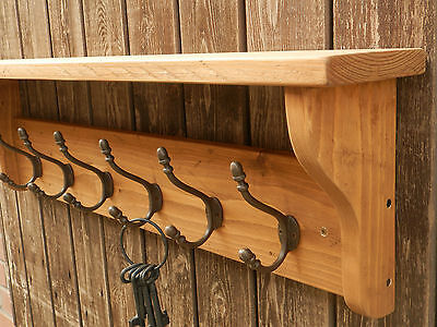 Solid wood Hat&Coat Rack with shelf and Acorn style hooks, ECO
