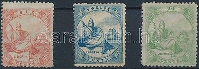 Liberia stamp Definitive set (tooth fault) Hinged 1860 Mi 1-3 WS151465
