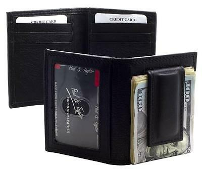 Paul & Taylor BLACK MAGNET MONEY CLIP Bifold Leather FRONT POCKET Wallet MC93