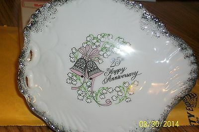 Hand Painted China 25th Anniversary Candy Dish George Good Japan Excellent