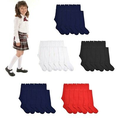 3, 6 ,12 Pairs Lot Women Girl  Knee High School Uniform Socks Plain Solid Colors