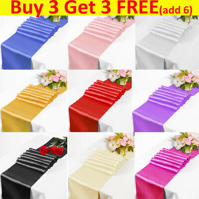 "12""x108"" Satin Table Runner Wedding Table Runners Reception Banquet Decoration"