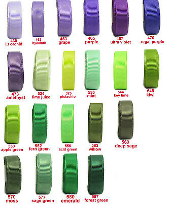 "5y 10y 25y 50mm 2"" Lilac Purple Green Emerald Premium Grosgrain Ribbon Eco"