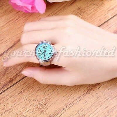 Women Chic Trendy Fashion Lady Girl Steel Round Elastic Quartz Finger Watch (P37
