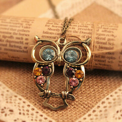 Hot Selling Vintage Colorful Cute Hollow Out Retro Style OWL Pendant Necklace