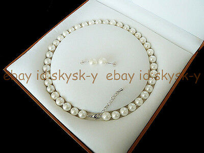 """8mm White Round Akoya Cultured Shell Pearl Necklace Earring Jewelry Set 18"""" AAA"""