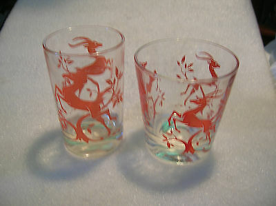 Federal Glass Gazelle Pattern Two Glasses 1 Juice and 1 Rocks Glasses 1951