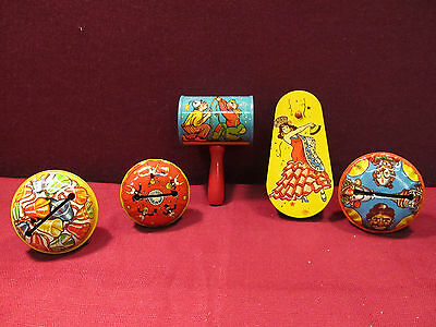 (5) Vintage Noise Makers  *US Metal Toy*  *Kirchhof*  Very Good Condition