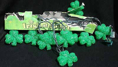Irish at Heart Shamrock Strand of Lights 9.5 ft New Electric St Patrick Clover