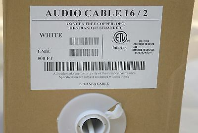 50'Ft 16 /2 gauge In-Wall outdoor audio cable CL3R Speaker Wire white OFC 65 ST