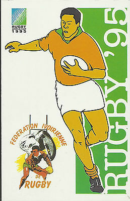 SOUTH AFRICA 1995 RUGBY WORLD CUP IVORY COAST Pre Stamped POSTCARD