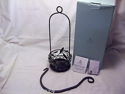 Partylite P 8102 Garden Lites wall Hanging Candle Holder green leave clear beads
