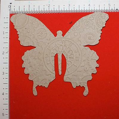 4 sizzix tim holtz gear embossed layered butterfly bare .03 chipboard die cuts