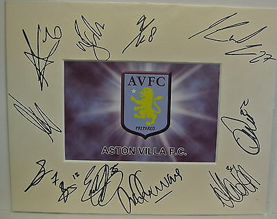 10 x 8 inch mount personally signed by 11 of the Aston Villa 2014-15 squad