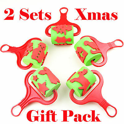 2 sets of 5 Christmas Themed Foam Paint Rollers/Kids Art Craft Stamps